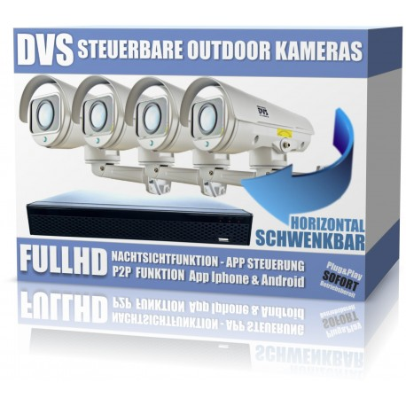 Controllable FullHD IP camera video surveillance set for outdoor use