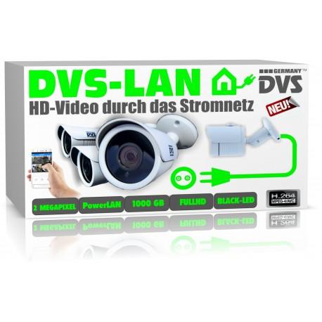 DLAN Videoüberwachung Set 4 IP DLAN Kameras inkl. Netzwerkrekorder mit 1000GB Festplatte