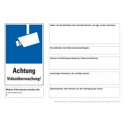 Outdoor-Aufkleber nach DSGVO inkl. Spezialstift Hinweisschild Videokennzeichnung zur Videoüberwachung