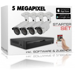 Videoüberwachung Set mit 4 FullHD Kameras und 5in1 IP-AHD-Rekorder inkl. Zubehör und Software