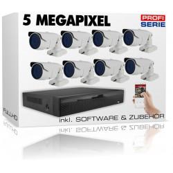 Profi Serie 5 Megapixel Videoüberwachung Komplett Set 2,8mm-12mm