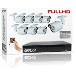Videoüberwachung Set mit 8 FullHD Kameras und IP-Rekorder inkl. Zubehör und Software