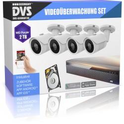 Set de vidéosurveillance HD 4x vision nocturne Caméra de surveillance extérieure + disque dur 2 To