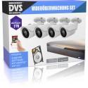 Sistema de video vigilancia HD 4x visión nocturna Cámara de vigilancia exterior + disco duro de 2 TB