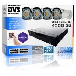 4K Überwachungsanlage inkl. Software und H265 ONVIF PoE UHD Bullet Kameras
