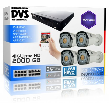 Professional 4K video security system with 8MP PoE bullet cameras 2000GB hard drive