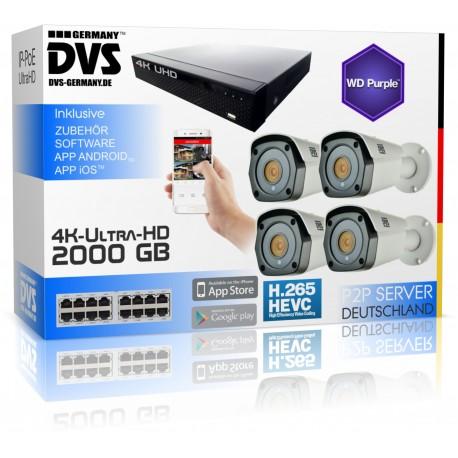 Professionelle 4K Video Sicherheitsystem mit 4K Bullet Kameras 2000GB Festplatte
