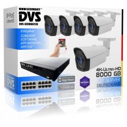 8TB 4K IP Rekorder inkl. 5x IP PoE 8 Megapixel Kameras für Geländeüberwachung