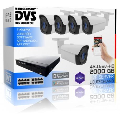 Professionelle 4K Videoüberwachungssystem mit 5x UHD IP PoE Kamera 4000GB
