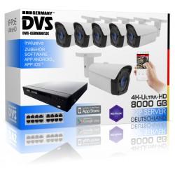 Profi 4K Videoüberwachungsset 8TB Speicher Recorder inkl. 6x 4K IP PoE Bullets