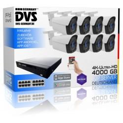 4K Überwachungskameraset mit 8x IP Poe UHD Kameras und 16TB UHD NVR