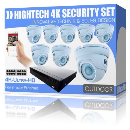 Videoüberwachung Set 4K UltraHD Rekorder inkl. 8x 4K Dome IP Poe Kameras