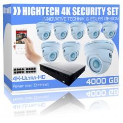 Equipo de videovigilancia Ultra HD de 4000 GB con 8x 4K cámaras de vigilancia domo