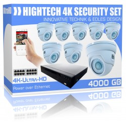 Ultra HD-videobewakingsset 4000 GB incl. 8x 4K dome-bewakingscamera's