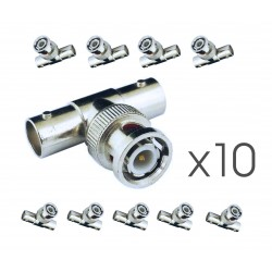 10x BNC-T-Stück Verbinder Videoüberwachung