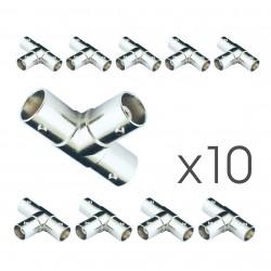 10 Stück BNC-T-Stück - female to double female - Verbinder Videoüberwachung