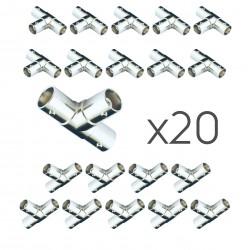 BNC-T-Stück Verbinder 20 Stück Videoüberwachung Y-Verteiler Buchse 2x Buchse Kupplung