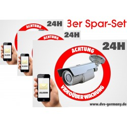 Achtung Videoüberwachung Alarm Hinweisschild Aufkleber, Warnaufkleber Kamera 3er-Set