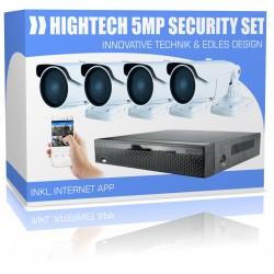 Aussenkamera: 4er-Set 5 Megapixel-HD-Überwachungskameras mit App, IP66 inkl. Rekorder, Aussenkamera