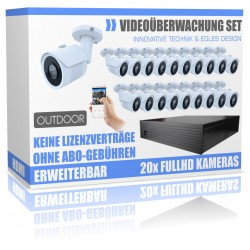 Professionelle Videoüberwachung Set mit 20 Stück HD Dome Nachtsicht- Kameras