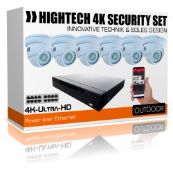 8MP Komplett Paket - 4x UltraHD IP PoE Kameras inkl. 8000GB HDD IP Rekorder