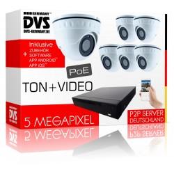 6x PoE Kameras mit integriertem Mikrofon 5Megapixel Komplettsystem