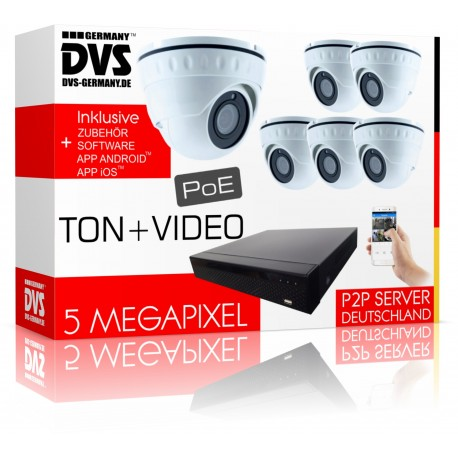 6x PoE Kameras mit integriertem Mikrofon PoE 5MP Komplettsystem