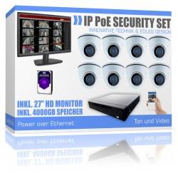 FullHD IP Videoüberwachung PoE Überwachungsanlage mit Tonaufnahme