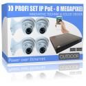 UltraHD Videoüberwachung Set mit 4x Dome 4K PoE Kameras inkl. Wandhalterungen