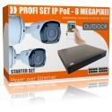 Überwachungskamera Set Bullet-Überwachungssystem, 4K HDD-Rekorder & 2 IP-Kameras, Montagebox