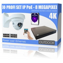 Videoüberwachung Set 4K Ultra-HD Dome PoE IP-Kamera UHD H265 Internet App