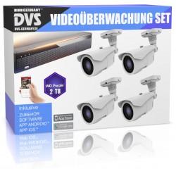 Videoüberwachung Set HD 5MP 4x Aussen Überwachungskamera + 2 TB Festplatte