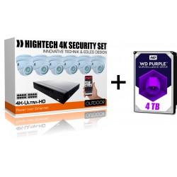 UltraHD 6x Kameras Videoüberwachung- IP Rekorder mit 4000GB WD Purple Festplatte