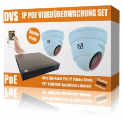Videosorveglianza HD IP impostato con 2 telecamere IP DOME e NVR incl. Switch PoE