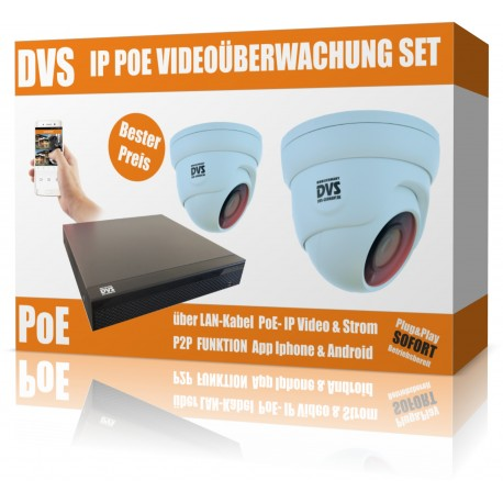 IP HD video surveillance set with 2 IP DOME cameras and NVR including accessories