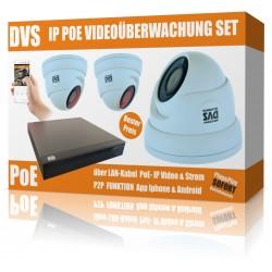 IP PoE Videoüberwachung Set mit 3x IP FullHD Dome Kameras und NVR inkl. Software