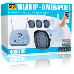 4 Kanal Videoüberwachung Set 4K WLAN Netzwerk Komplettsystem UHD IR Nachtsicht 4000GB Festplatte