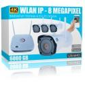 WLAN Videoüberwachung Set 8MP 4x Nachtsicht Überwachungskamera +6000 GB Festplatte