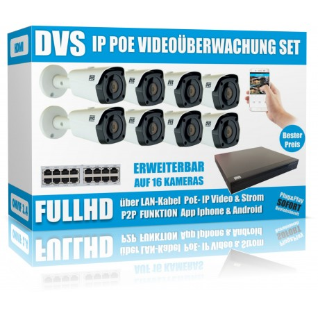 IP  PoE Überwachungskamera Set 2.4MP