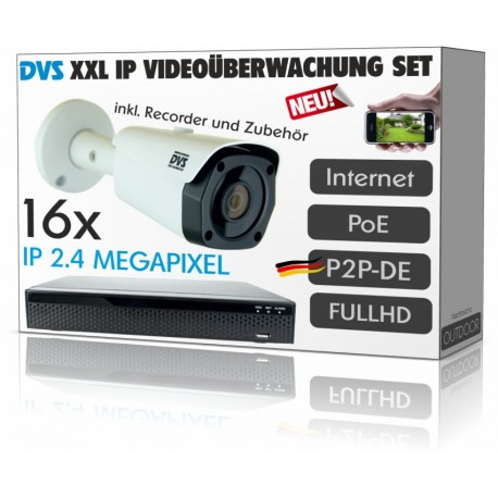 2.4 MP IP video surveillance set with 16 IP PoE cameras including PROFISET accessories