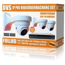 IP HD Videoüberwachung Set mit 2 IP DOME Kameras und NVR inkl. PoE Switch