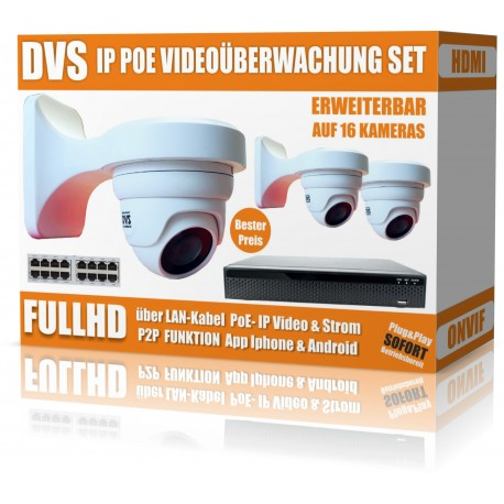 IP HD video surveillance set with 3 IP DOME cameras and NVR including software