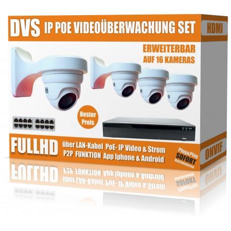 "Video und Tonaufnahme Videoüberwachung Set mit 8 Kameras, PoE NVR inkl. 27"" Monitor"