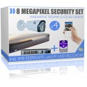 8 Megapixel Komplett Paket - 4x UltraHD IP PoE Kameras inkl. 8000GB HDD IP Rekorder