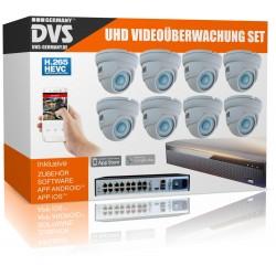UltraHD Videoüberwachung Set 4K Rekorder inkl. 8x 4K Dome IP Poe Kameras Bewegungserkennung