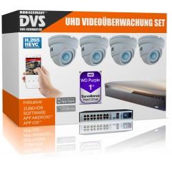 Videoüberwachung 4K Festplatten-Rekorder 1000GB Speicher inkl. PoE Kameras