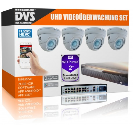 4K video surveillance with surveillance camera and network recorder 2000GB