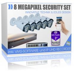 Professionelle 4K Videoüberwachungssystem mit 5x UHD IP PoE Kamera 2000GB