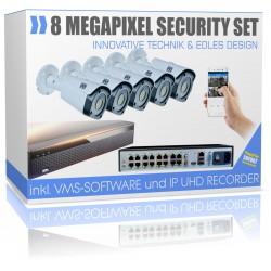 4K Profi-Überwachungsanlage Recorder mit 5x UHD IP Bullet Kamera H265 ONVIF PoE