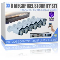 Profi Videoüberwachungsset 4K 8TB Speicher Recorder inkl. 6x 4K IP PoE Bullets